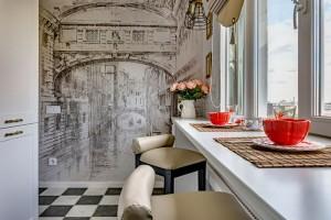Фотообои-в-интерьере-маленькой-классической-кухни