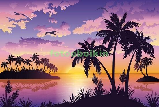 Фотообои Карибские пальмы на закате