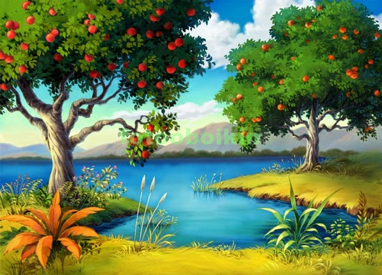 Фотообои Апельсиновое дерево на берегу