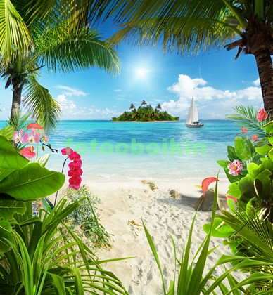 Фотообои Райский пляж с цветами