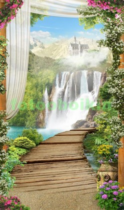 Фотообои Мостик у водопада