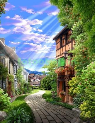 Дорожка около старых домов