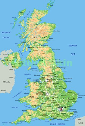 Физическая карта Англии