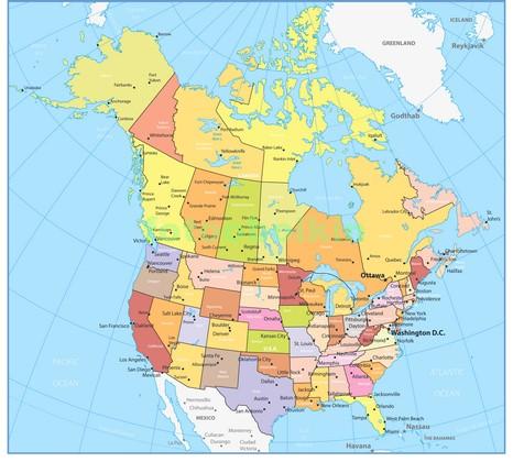 Карта сша и Канады в штатах
