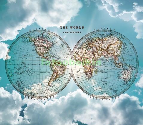 Фотообои Карта мира на фоне неба