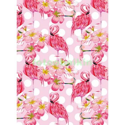 Фотообои Розовые фламинго с цветами