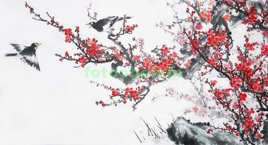 Сакура с птицами