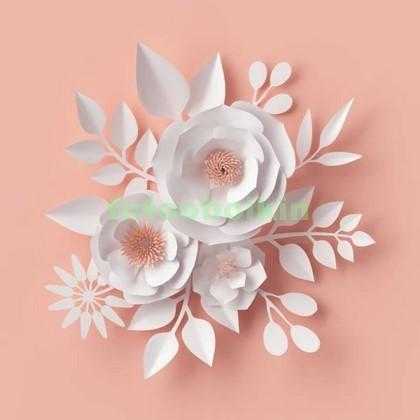 3D белые цветы