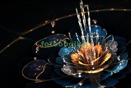 3D цветок на черном фоне