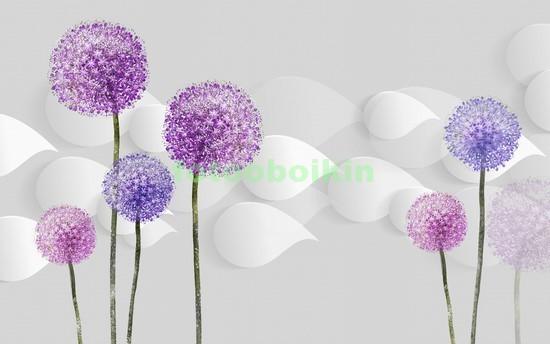 Фотообои 3D круглые цветы