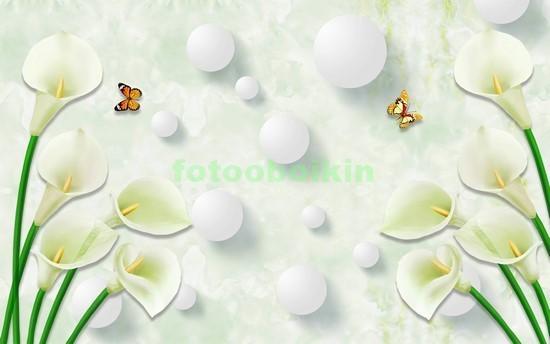 3D белые цветы с шарами
