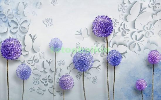 3D синие одуванчики