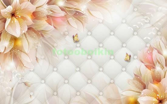 3D бежевые цветы