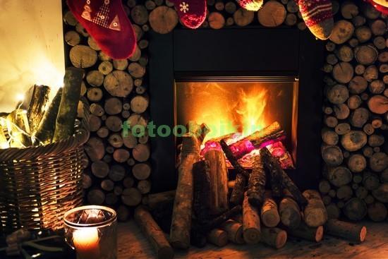 Камин с дровами