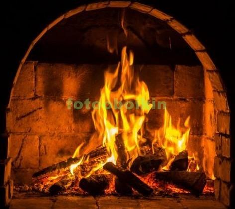 Камин с дровами и огнем