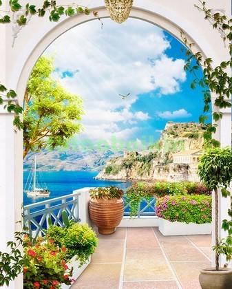 Белая арка с видом на море