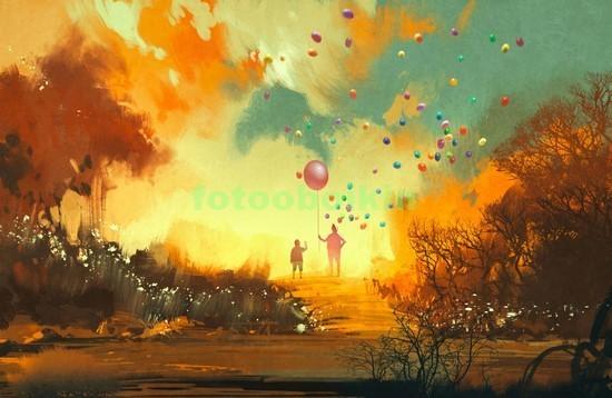 Воздушные шарики на закате