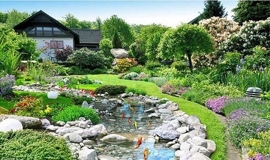 Сад с прудом