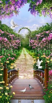 Фотообои Мостик в сад с цветами