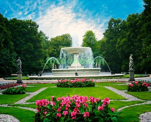Фотообои Сад с фонтаном
