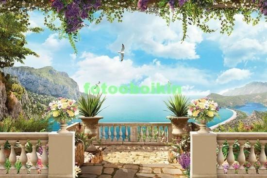 Фотообои Терраса с цветами