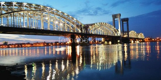Большеохтинский мост закат