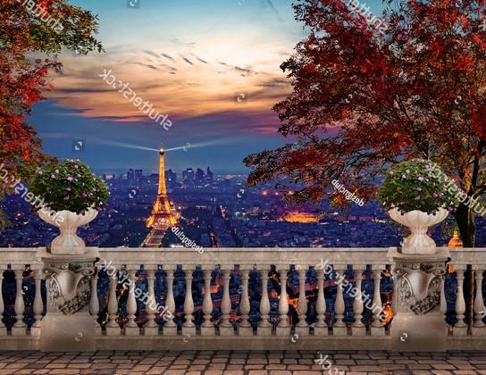 Фотообои Фреска ночной Париж