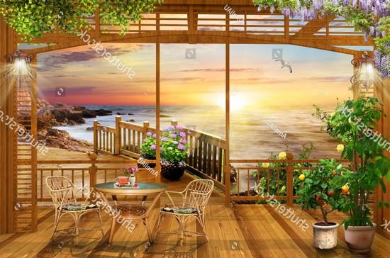 Терраса с видом на закат и розами