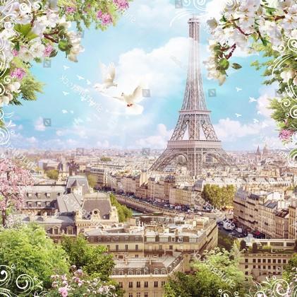 Эйфелевая башня и белые цветы