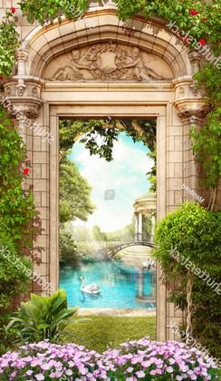 Дверь с сереневыми цветами