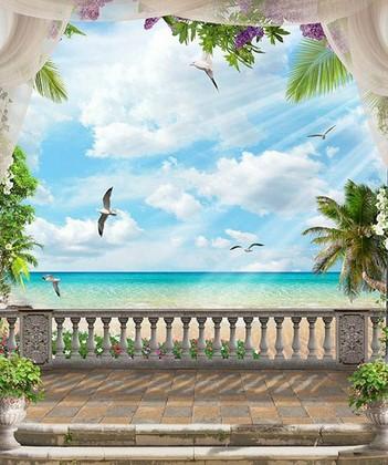 Вид на бирюзовое море и чаек