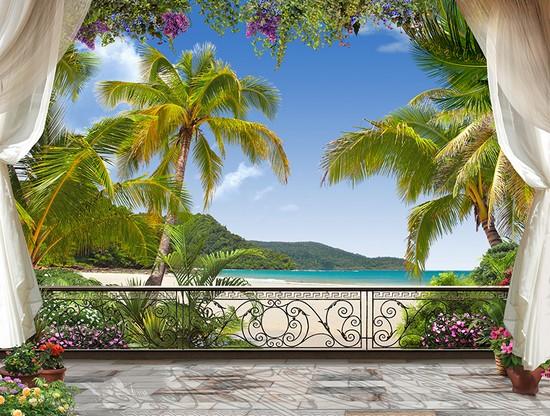 Вид на пальмы с пляжем