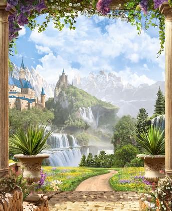 Вид на дорогу к водопаду и замоку
