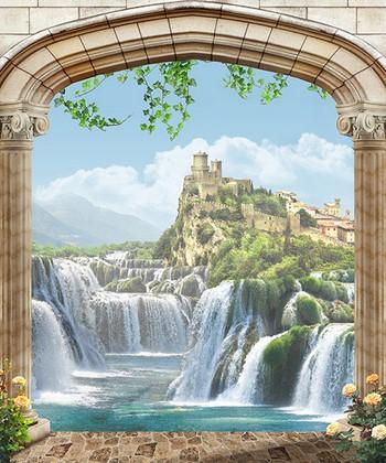 Водопады и замок на горе