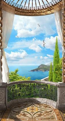 Балкон с видом на голубое море и птиц