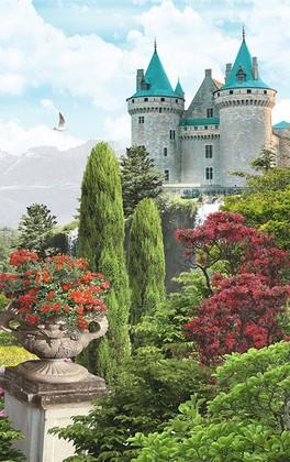 Замок с бирюзовыми крышами
