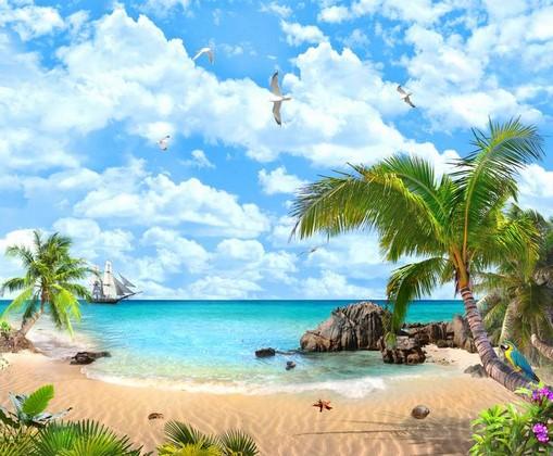 Пляж с бирюзовой водой