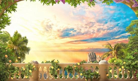 Вид с балкона на закат и синее небо
