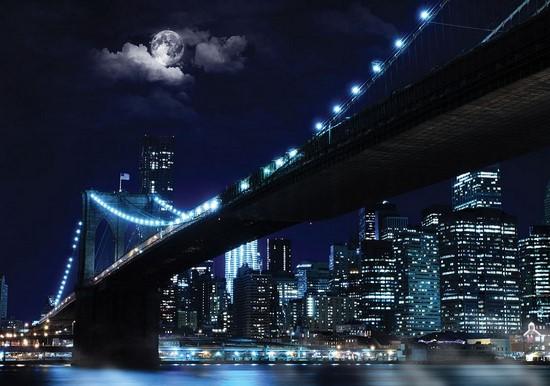 Ночной город с луной
