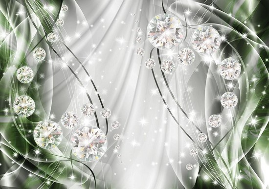 Бриллианты на зеленом фоне