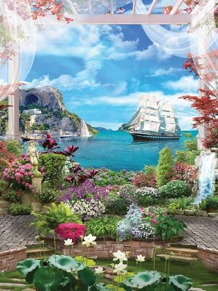 Фотообои Цветущий сад с видом на море