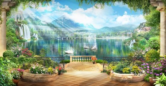 Озеро в горах с лебедями