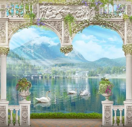 Озеро в Альпах с лебедями