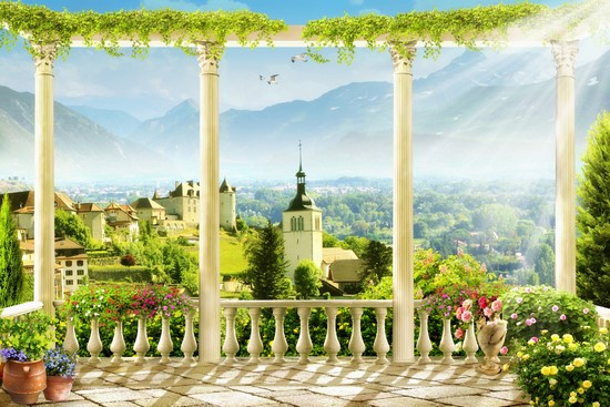 Терраса освещенная солнцем с видом на замок