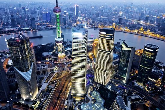 Фотообои Вид на небоскребы и ночной город с птичьего полета