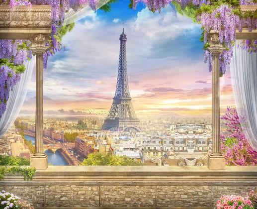 Париж и розовые цветы