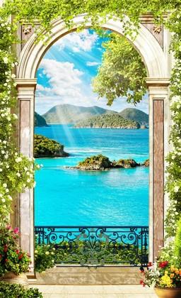Фотообои Фреска голубое море