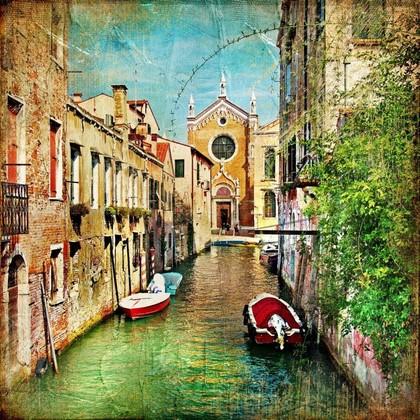 Фреска. Цветной канал в Венеции
