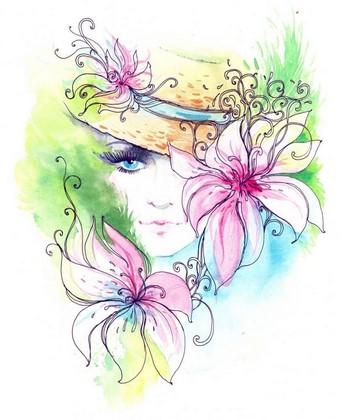 Фотообои Цветная иллюстрация девушки