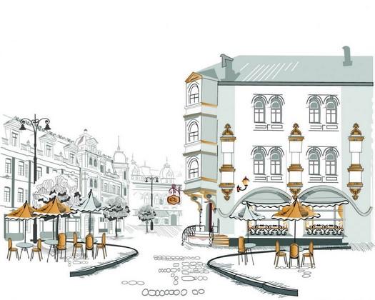 Фотообои Иллюстрация кафе